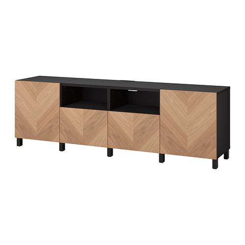 BESTÅ - 電視几連抽屜/門, black-brown/Hedeviken/Stubbarp oak veneer   IKEA 香港及澳門 - PE820159_S4