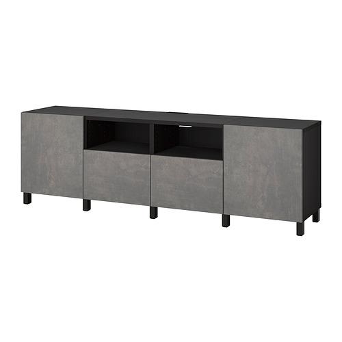 BESTÅ - TV bench with doors and drawers, black-brown/Kallviken/Stubbarp dark grey | IKEA Hong Kong and Macau - PE820161_S4