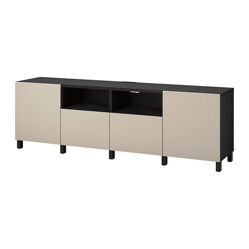 BESTÅ - TV bench with doors and drawers, black-brown/Lappviken/Stubbarp light grey/beige | IKEA Hong Kong and Macau - PE820147_S4