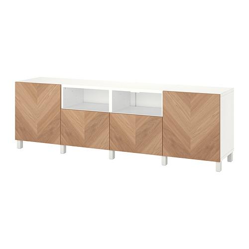 BESTÅ - 電視几連抽屜/門, white/Hedeviken/Stubbarp oak veneer   IKEA 香港及澳門 - PE820154_S4