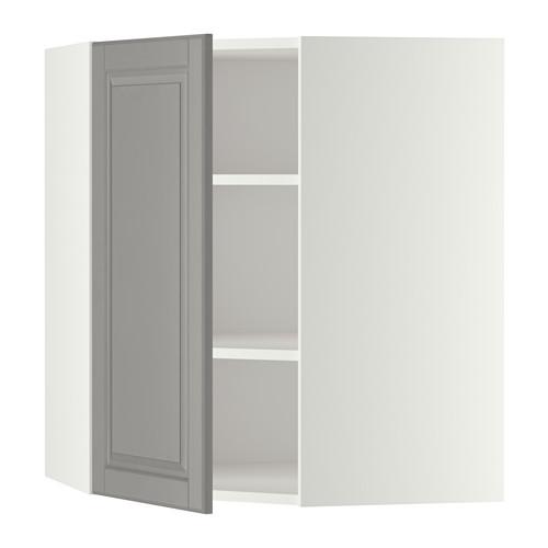 METOD - corner wall cabinet with shelves, white/Bodbyn grey | IKEA Hong Kong and Macau - PE345952_S4