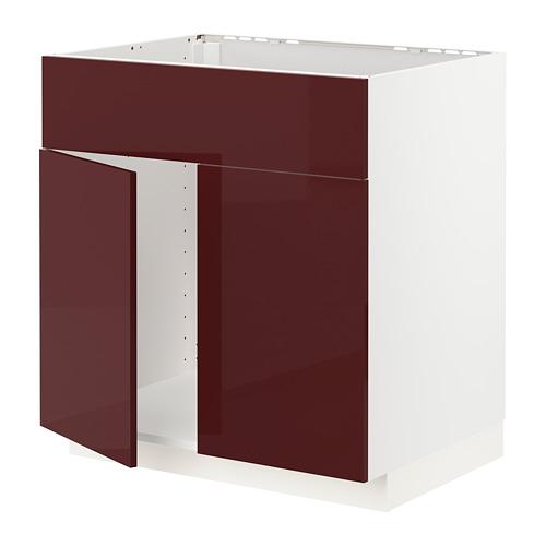 METOD - base cabinet f sink w 2 doors/front, white Kallarp/high-gloss dark red-brown | IKEA Hong Kong and Macau - PE764922_S4