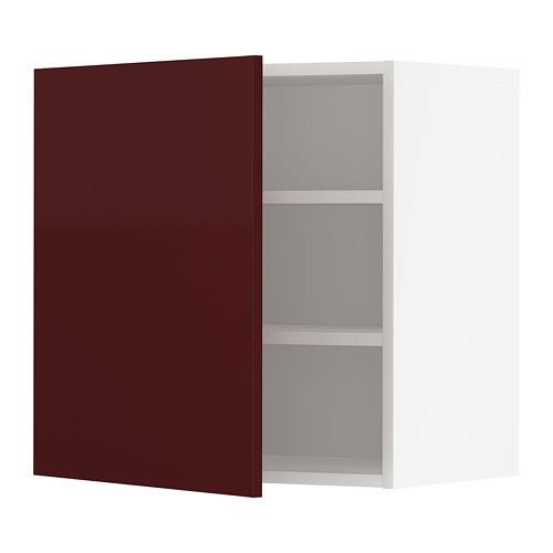 METOD - wall cabinet with shelves, white Kallarp/high-gloss dark red-brown | IKEA Hong Kong and Macau - PE764948_S4