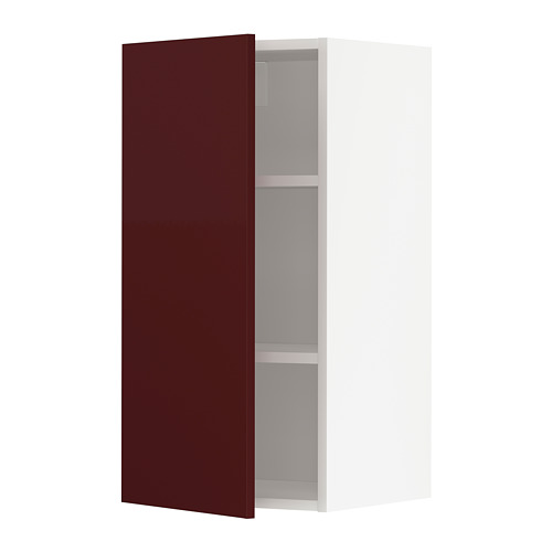 METOD - wall cabinet with shelves, white Kallarp/high-gloss dark red-brown | IKEA Hong Kong and Macau - PE764867_S4
