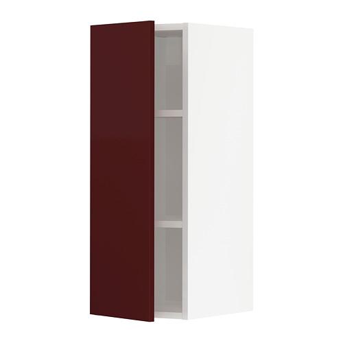 METOD - wall cabinet with shelves, white Kallarp/high-gloss dark red-brown | IKEA Hong Kong and Macau - PE764837_S4