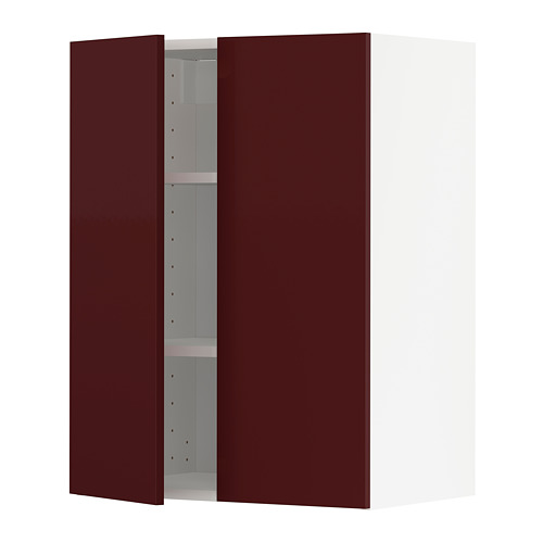 METOD - wall cabinet with shelves/2 doors, white Kallarp/high-gloss dark red-brown | IKEA Hong Kong and Macau - PE764938_S4