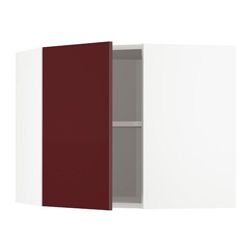 METOD - corner wall cabinet with shelves, white Kallarp/high-gloss dark red-brown | IKEA Hong Kong and Macau - PE764949_S4