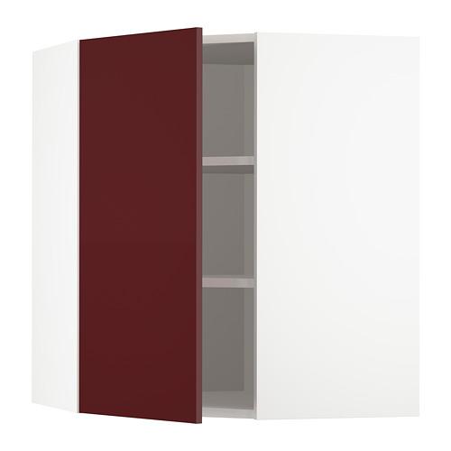 METOD - corner wall cabinet with shelves, white Kallarp/high-gloss dark red-brown   IKEA Hong Kong and Macau - PE764950_S4
