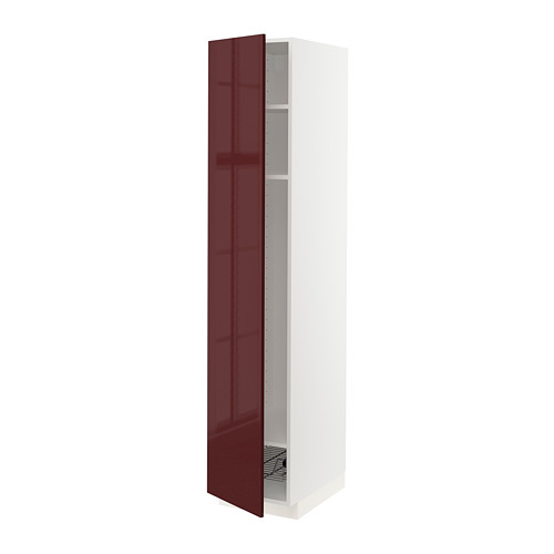 METOD - high cabinet w shelves/wire basket, white Kallarp/high-gloss dark red-brown | IKEA Hong Kong and Macau - PE764838_S4