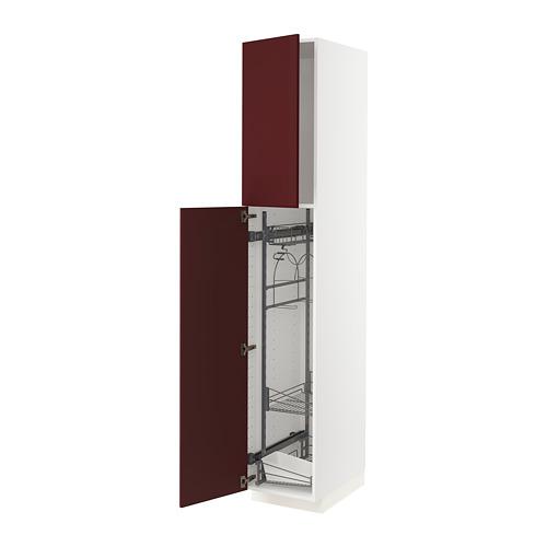 METOD - 高櫃連清潔用品櫃內配件, white Kallarp/high-gloss dark red-brown | IKEA 香港及澳門 - PE764800_S4