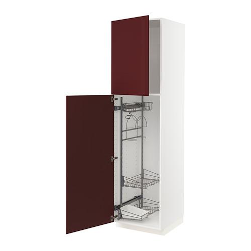 METOD - high cabinet with cleaning interior, white Kallarp/high-gloss dark red-brown | IKEA Hong Kong and Macau - PE764939_S4