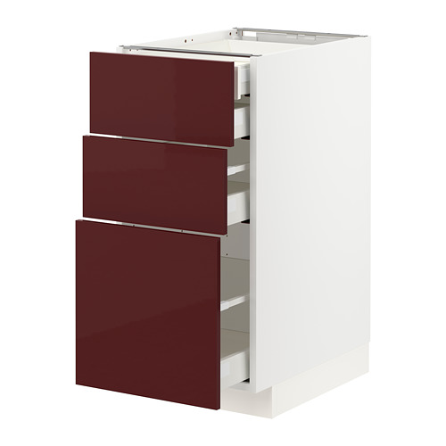 METOD/MAXIMERA - base cb 3 frnts/2 low/1 md/1 hi drw, white Kallarp/high-gloss dark red-brown | IKEA Hong Kong and Macau - PE764998_S4