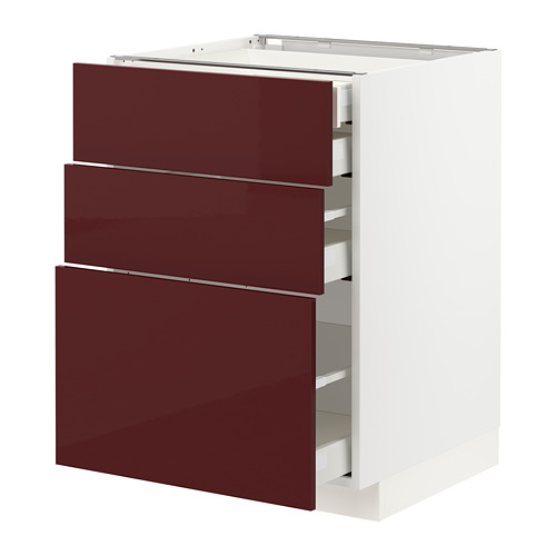 METOD/MAXIMERA - base cb 3 frnts/2 low/1 md/1 hi drw, white Kallarp/high-gloss dark red-brown | IKEA Hong Kong and Macau - PE764999_S4
