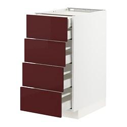 MAXIMERA/METOD - base cb 4 frnts/2 low/3 md drwrs, white Kallarp/high-gloss dark red-brown | IKEA Hong Kong and Macau - PE764879_S3