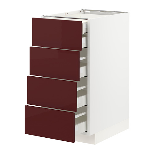 MAXIMERA/METOD - base cb 4 frnts/2 low/3 md drwrs, white Kallarp/high-gloss dark red-brown | IKEA Hong Kong and Macau - PE764879_S4