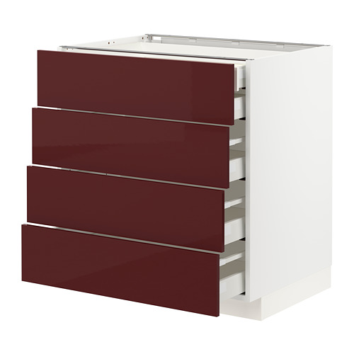 METOD/MAXIMERA - base cb 4 frnts/2 low/3 md drwrs, white Kallarp/high-gloss dark red-brown | IKEA Hong Kong and Macau - PE764946_S4