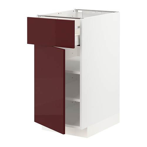 METOD/MAXIMERA - base cabinet with drawer/door, white Kallarp/high-gloss dark red-brown | IKEA Hong Kong and Macau - PE764839_S4
