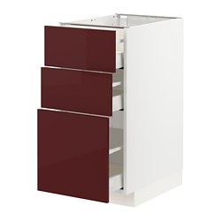 MAXIMERA/METOD - base cabinet with 3 drawers, white Kallarp/high-gloss dark red-brown | IKEA Hong Kong and Macau - PE764833_S3