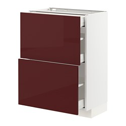 MAXIMERA/METOD - base cab with 2 fronts/3 drawers, white Kallarp/high-gloss dark red-brown | IKEA Hong Kong and Macau - PE764857_S3