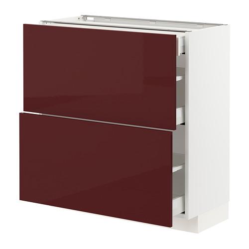 METOD/MAXIMERA - 地櫃連面板抽屜組合, white Kallarp/high-gloss dark red-brown | IKEA 香港及澳門 - PE764858_S4