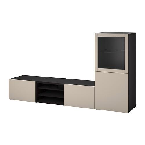 BESTÅ - 電視貯物組合/玻璃門, black-brown Sindvik/Lappviken light grey/beige   IKEA 香港及澳門 - PE820298_S4
