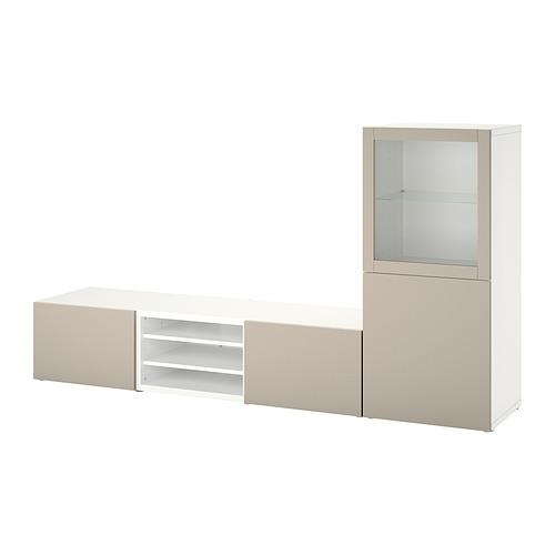 BESTÅ - 電視貯物組合/玻璃門, white Sindvik/Lappviken light grey/beige   IKEA 香港及澳門 - PE820301_S4