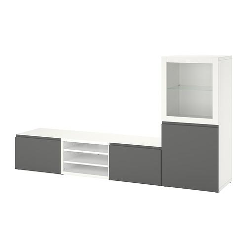 BESTÅ - TV storage combination/glass doors, white/Västerviken grey   IKEA Hong Kong and Macau - PE820303_S4
