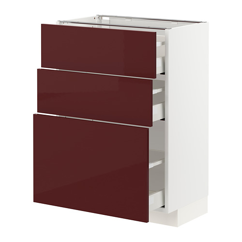MAXIMERA/METOD base cabinet with 3 drawers