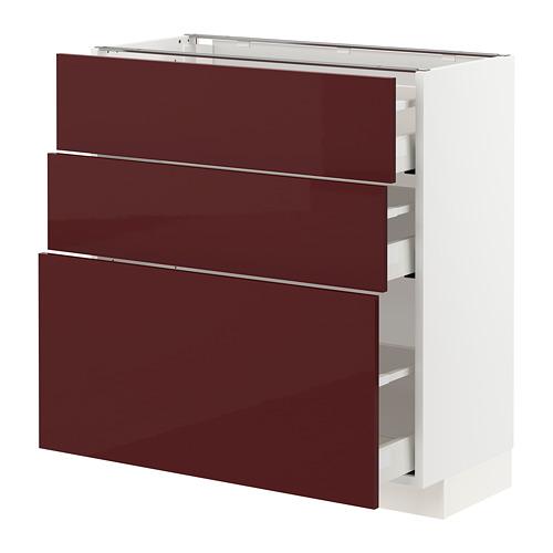 METOD/MAXIMERA - base cabinet with 3 drawers, white Kallarp/high-gloss dark red-brown | IKEA Hong Kong and Macau - PE764860_S4