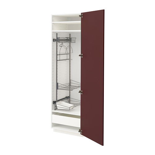 METOD/MAXIMERA - high cabinet with cleaning interior, white Kallarp/high-gloss dark red-brown | IKEA Hong Kong and Macau - PE764863_S4