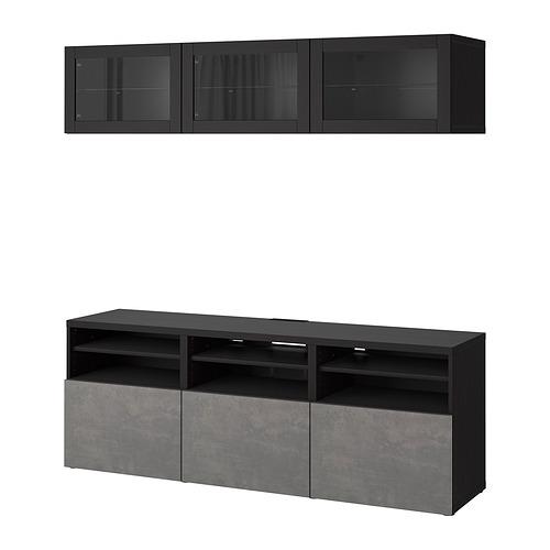 BESTÅ - 電視貯物組合/玻璃門, black-brown Sindvik/Kallviken dark grey   IKEA 香港及澳門 - PE820372_S4