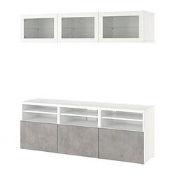 BESTÅ - TV storage combination/glass doors, white Sindvik/Kallviken light grey | IKEA Hong Kong and Macau - PE820375_S3