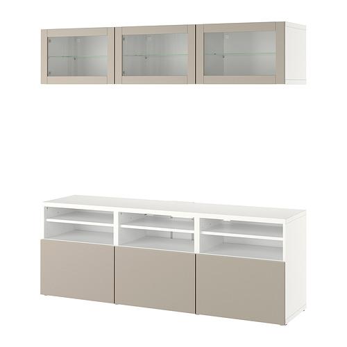 BESTÅ - 電視貯物組合/玻璃門, white Sindvik/Lappviken light grey/beige   IKEA 香港及澳門 - PE820376_S4