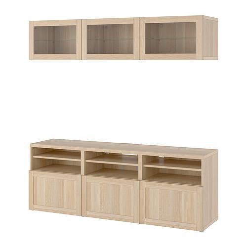 BESTÅ - 電視貯物組合/玻璃門, white stained oak effect Sindvik/Hanviken white stained oak eff clear glass | IKEA 香港及澳門 - PE820377_S4