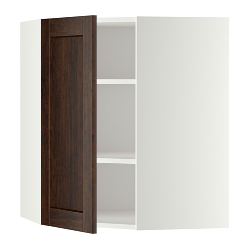 METOD - corner wall cabinet with shelves, white/Edserum brown | IKEA Hong Kong and Macau - PE345955_S4