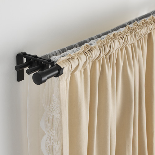 HUGAD/RÄCKA - triple curtain rod combination, black | IKEA Hong Kong and Macau - PE569549_S4
