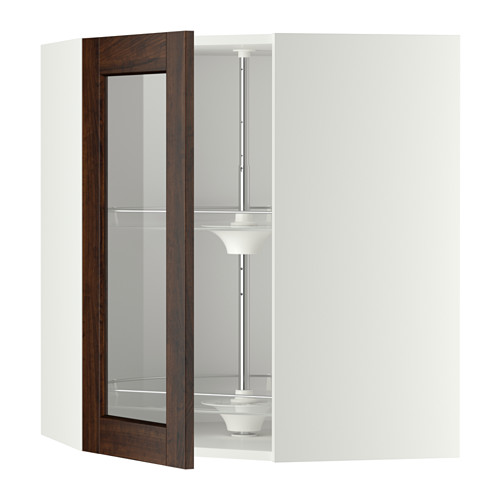 METOD - corner wall cab w carousel/glass dr, white/Edserum brown | IKEA Hong Kong and Macau - PE346631_S4