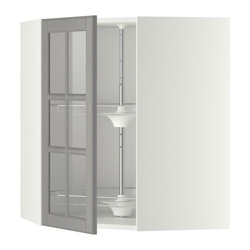 METOD - corner wall cab w carousel/glass dr, white/Bodbyn grey | IKEA Hong Kong and Macau - PE346639_S4