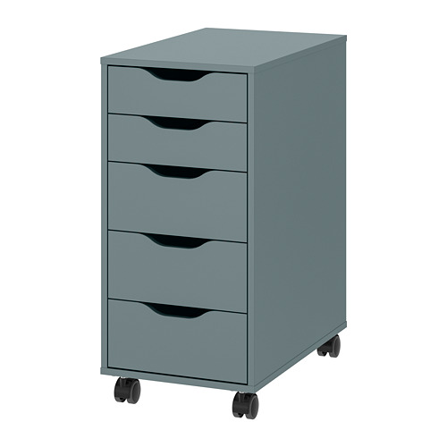 ALEX - drawer unit on castors, D58cm, grey-turquoise/black | IKEA Hong Kong and Macau - PE820413_S4