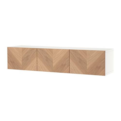 BESTÅ - TV bench with doors, white/Hedeviken oak veneer | IKEA Hong Kong and Macau - PE820430_S4