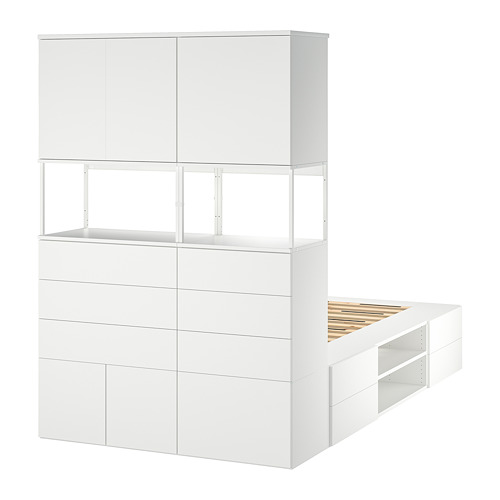 PLATSA bed frame with 6 doors+12 drawers