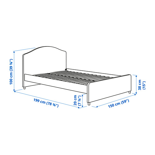 HAUGA - upholstered bed frame, Vissle grey, DOUBLE | IKEA Hong Kong and Macau - PE782344_S4