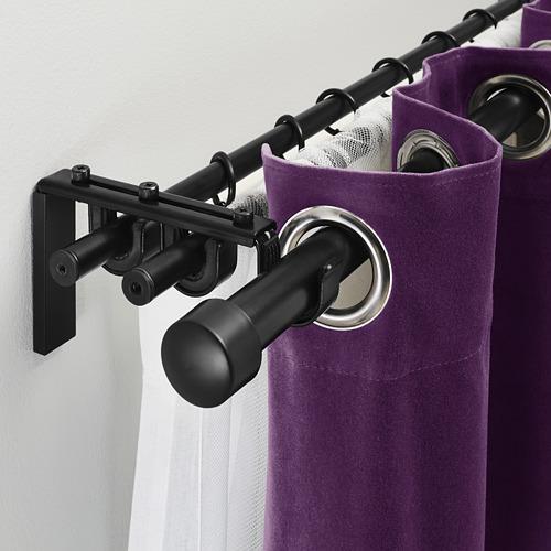 HUGAD/RÄCKA - triple curtain rod combination, black | IKEA Hong Kong and Macau - PE336649_S4