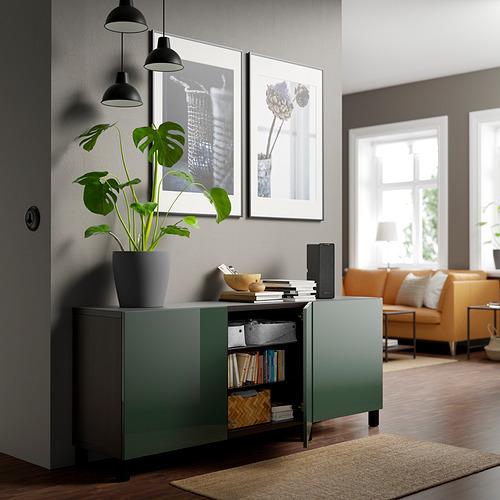 BESTÅ - 貯物組合連門, black-brown Selsviken/Stubbarp/high-gloss dark olive-green | IKEA 香港及澳門 - PE820792_S4