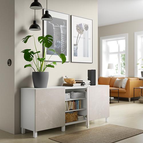 BESTÅ - storage combination with doors, white Bergsviken/Stubbarp/beige marble effect | IKEA Hong Kong and Macau - PE820795_S4