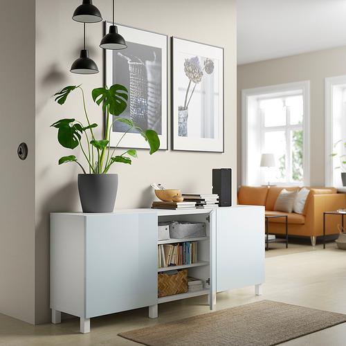 BESTÅ - 貯物組合連門, white Selsviken/Stubbarp/high-gloss light grey-blue | IKEA 香港及澳門 - PE820753_S4