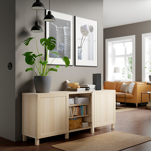 BESTÅ - 貯物組合連門, white stained oak effect/Hanviken/Stubbarp white stained oak effect   IKEA 香港及澳門 - PE820793_S4