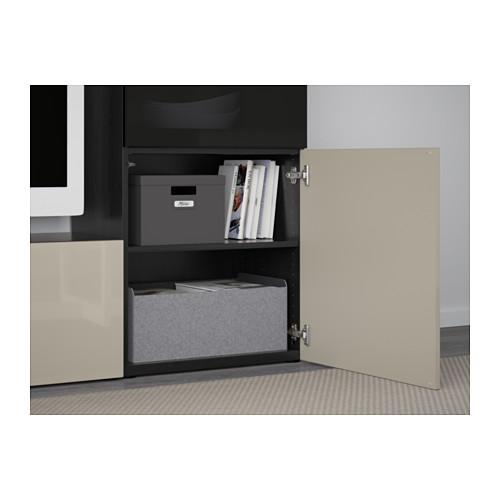 BESTÅ - TV storage combination/glass doors, black-brown/Selsviken high-gloss/beige smoked glass | IKEA Hong Kong and Macau - PE560788_S4