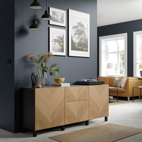 BESTÅ - 貯物組合連抽屜, black-brown/Hedeviken/Stubbarp oak veneer   IKEA 香港及澳門 - PE821146_S4