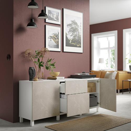 BESTÅ - 貯物組合連抽屜, white Bergsviken/Stubbarp/beige marble effect | IKEA 香港及澳門 - PE821202_S4